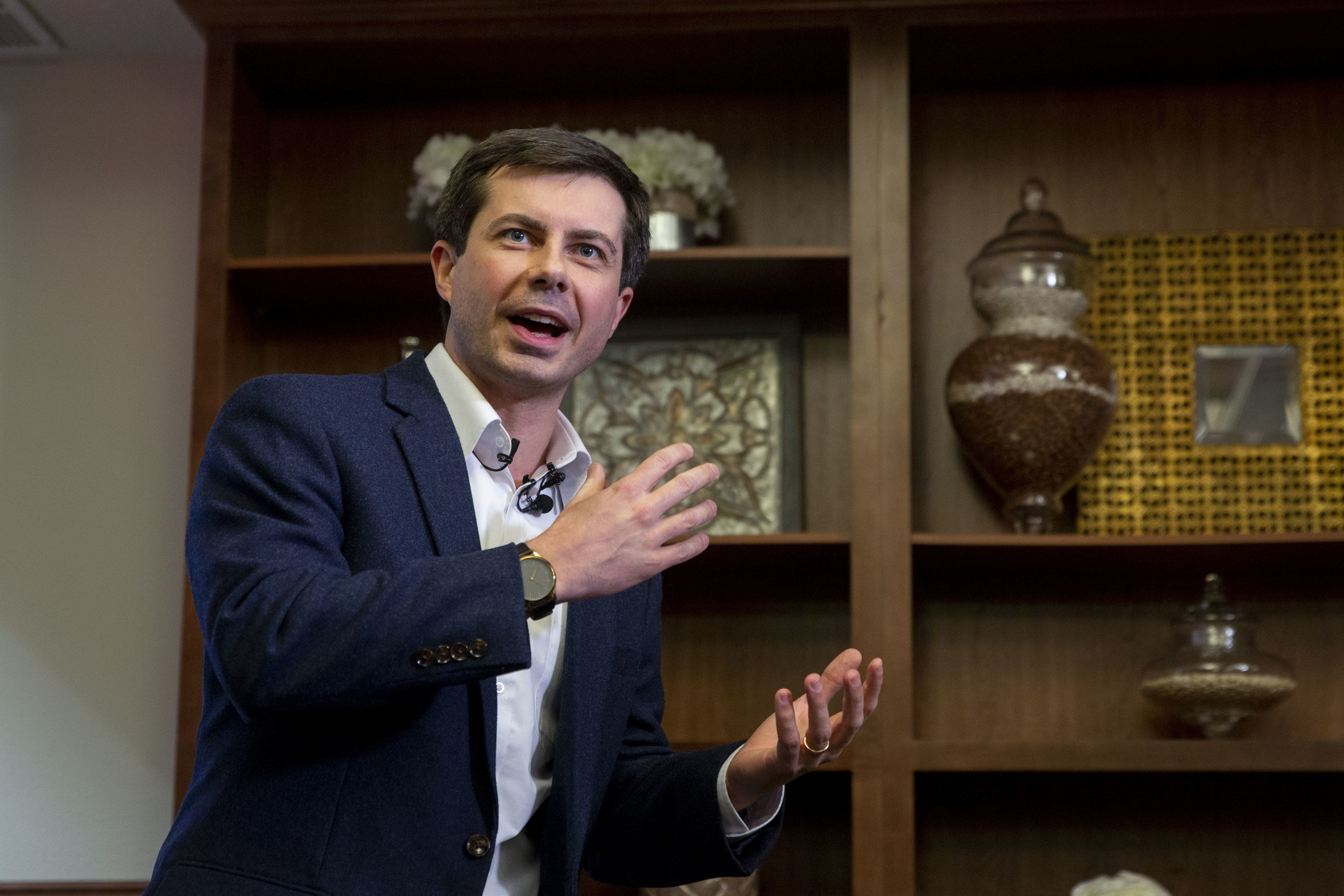 Pete Buttigieg, the mayor of South Bend, Indiana, speaks during a campaign stop in Ankeny, Iowa, U.S., on Friday, Feb. 8, 2019. A flurry of proposals to slap new taxes on the ultra-wealthy, extend Medicare to all Americans and make college debt-free reflect a rapidly changing Democratic Party that sees a sharp left turn as the path to defeating President Donald Trump. Photographer: Daniel Acker/Bloomberg via Getty Images