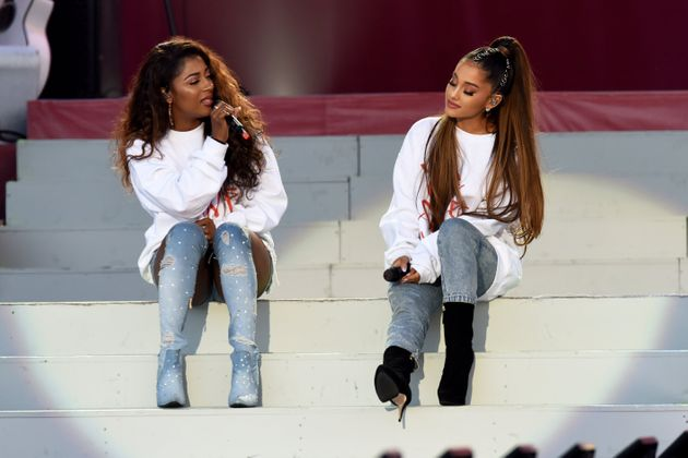 Victoria Monet and Ariana Grande performing during the One Love Manchester