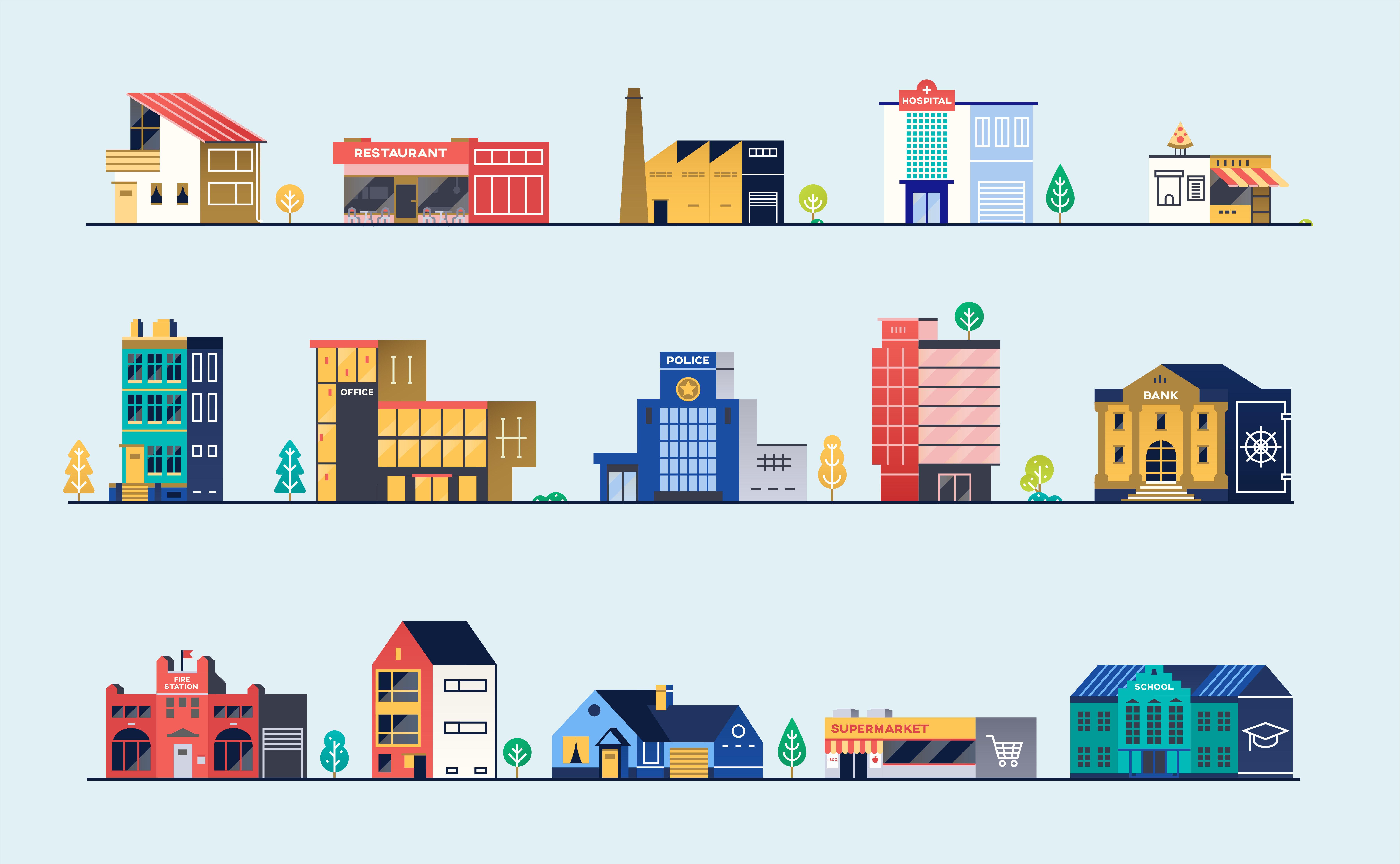 Set of city buildings. Bank, hospital, fire station, police station, shops and restaurants. Vector illustration