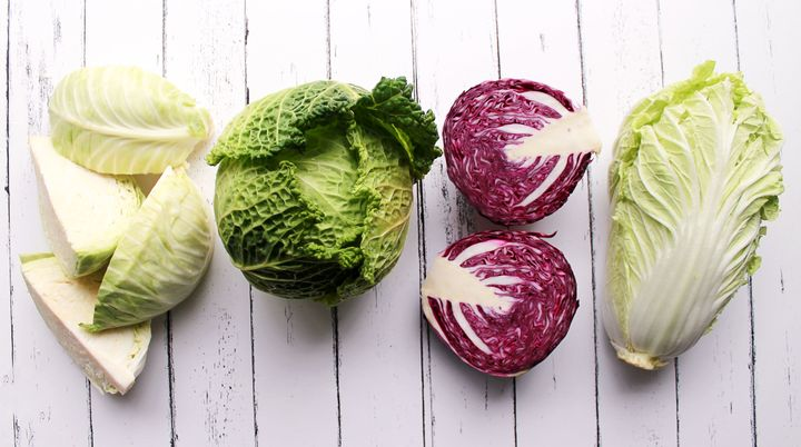 Left to right: Green cabbage, savoy cabbage, red cabbage and napa cabbage