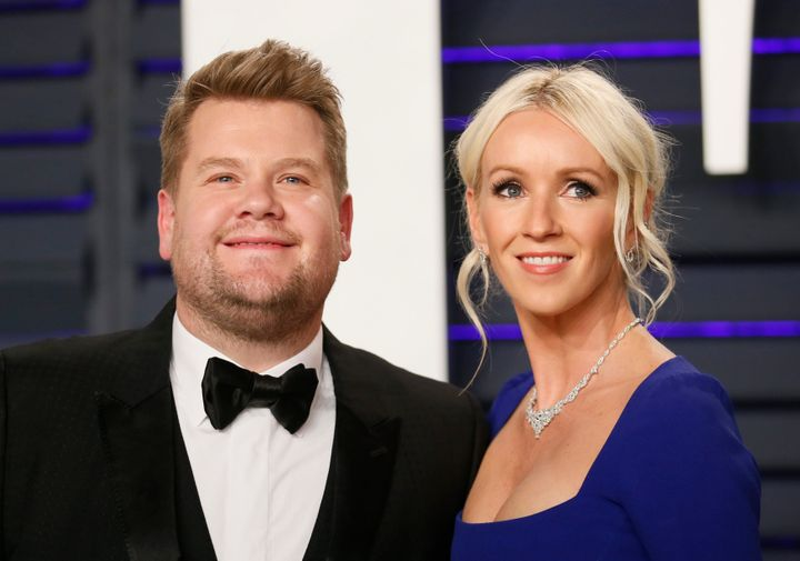 James Corden and his wife, Julia Carey, at the Vanity Fair Oscars party on Feb. 24.