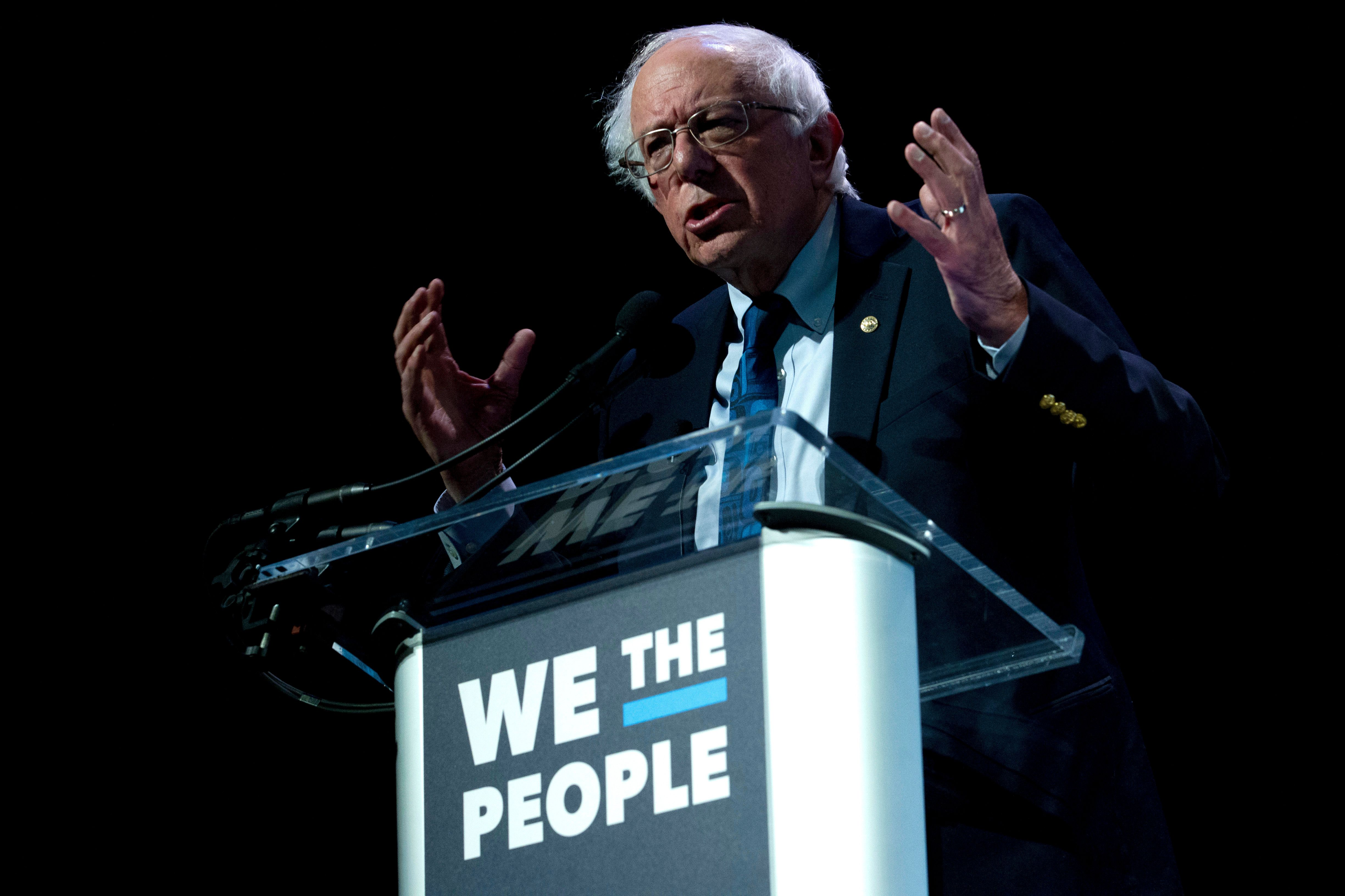 Independent presidential candidate Sen. Bernie Sanders, I-Vt., speaks during the We the People Membership Summit, featuring the 2020 Democratic presidential candidates, at the Warner Theater, in Washington, Monday, April 1, 2019. (AP Photo/Jose Luis Magana)