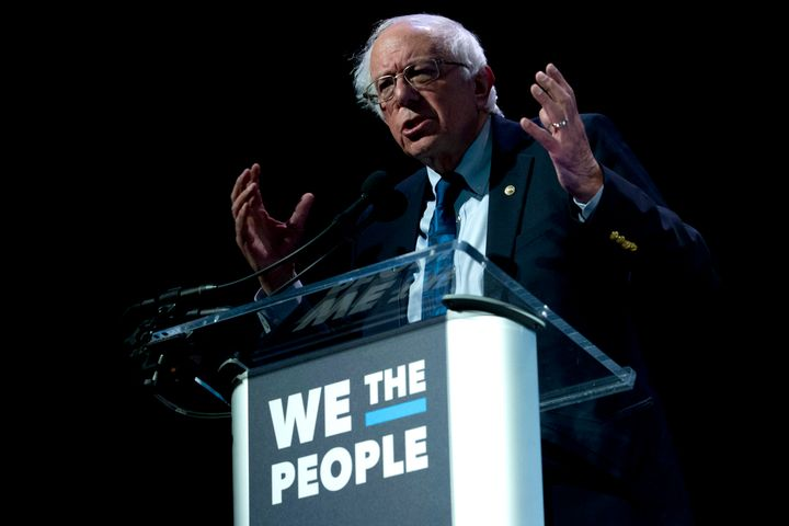 Sen. Bernie Sanders (I-Vt.) speaks at the We the People summit in Washington on Monday. His campaign announced high fundraisi