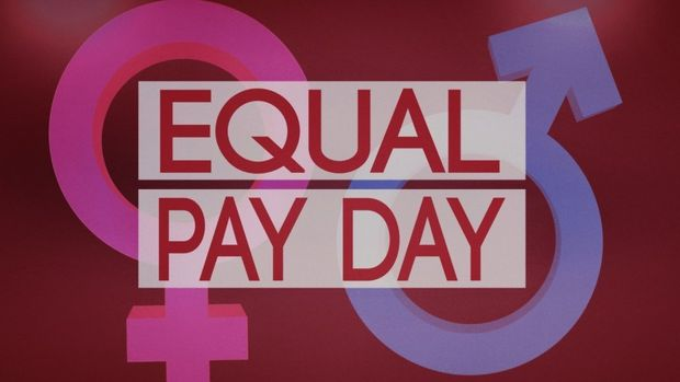 Equal Pay Day lettering over male and female symbols, finished graphic