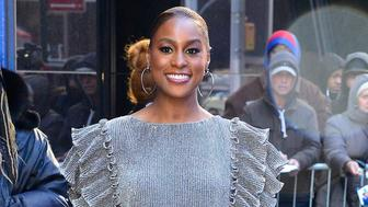 NEW YORK, NY - APRIL 01:  Actress Issa Rae is seen outside good morning amrica  on April 1, 2019 in New York City.  (Photo by Raymond Hall/GC Images)