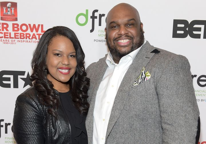 Aventer and John Gray pose while attending an event at Lakewood Church on February 3, 2017 in Houston, Texas.