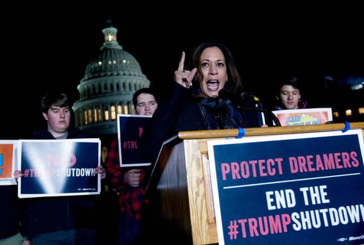 Sen. Kamala Harris (D-Calif.) spoke at a rally in support of DACA on Jan. 19, 2018.