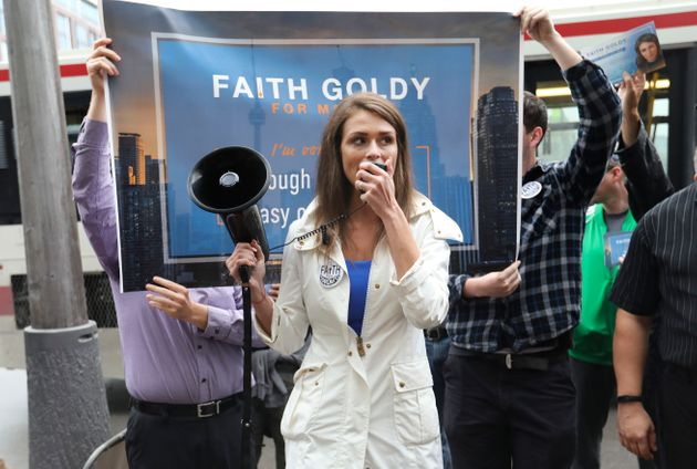 "Canadian white nationalist Faith Goldy laments white ""replacement"" in a new"