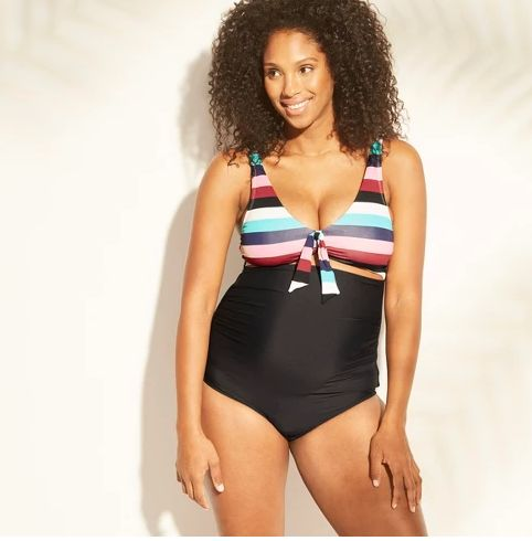 2da3249b01a0f Maternity Striped Peek-A-Boo Tie One Piece Swimsuit - Sea Angel - Victorian  Stripe. Target