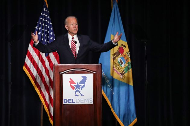 FormerVice President Joe Biden delivers remarks at the First State Democratic Dinner in Dover,...
