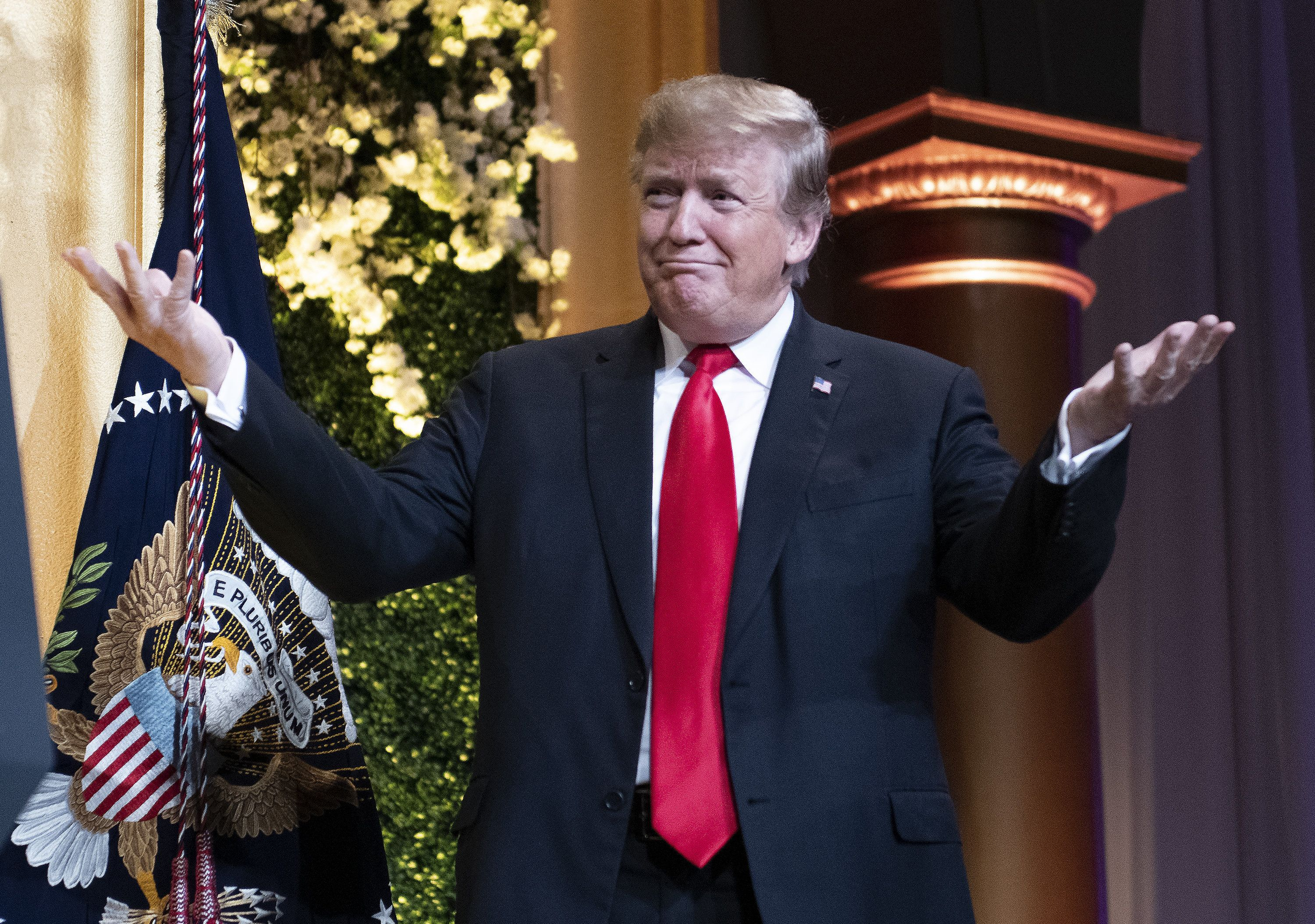 U.S. President Donald Trump gestures while arriving to speak at the National Republican Congressional Committee Annual Spring Dinner in Washington, D.C., U.S., on Tuesday, April 2, 2019. Trump said Republicans would wait until after the 2020 election to vote on a replacement for Obamacare, abruptly halting a push he began just last week and guaranteeing that the issue will take center stage in his re-election campaign. Photographer: Ron Sachs/Pool via Bloomberg