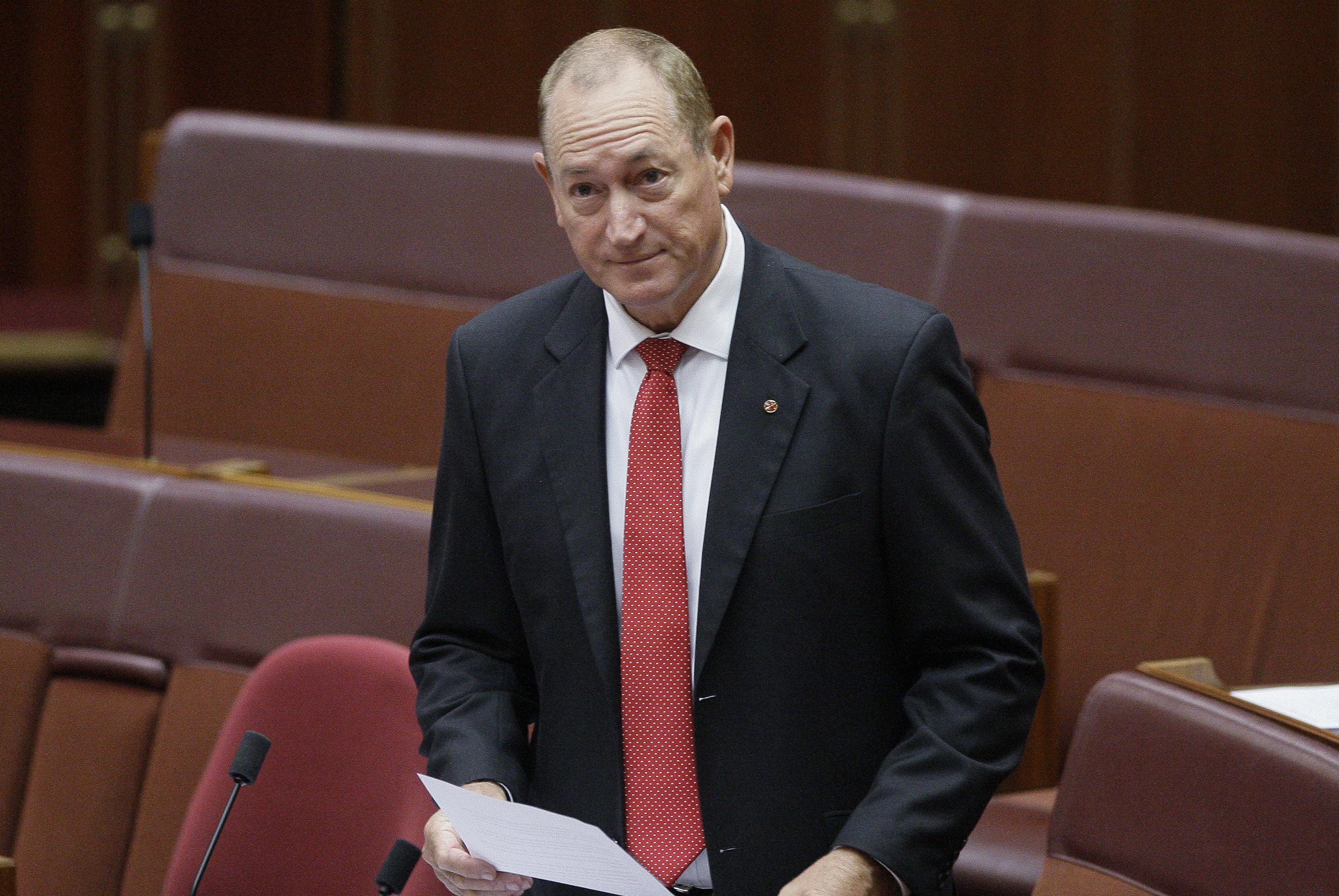 Australian Senator Fraser Anning gives a speech in Parliament House in Canberra, Australia, Wednesday, April 3, 2019.