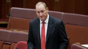 Australian Senator Fraser Anning gives a speech in Parliament House in Canberra, Australia, Wednesday, April 3, 2019. The independent legislator was arguing against a censure motion that was passed against him over his comments about last month's New Zealand mosque shootings. (AP Photos/Rod McGuirk)