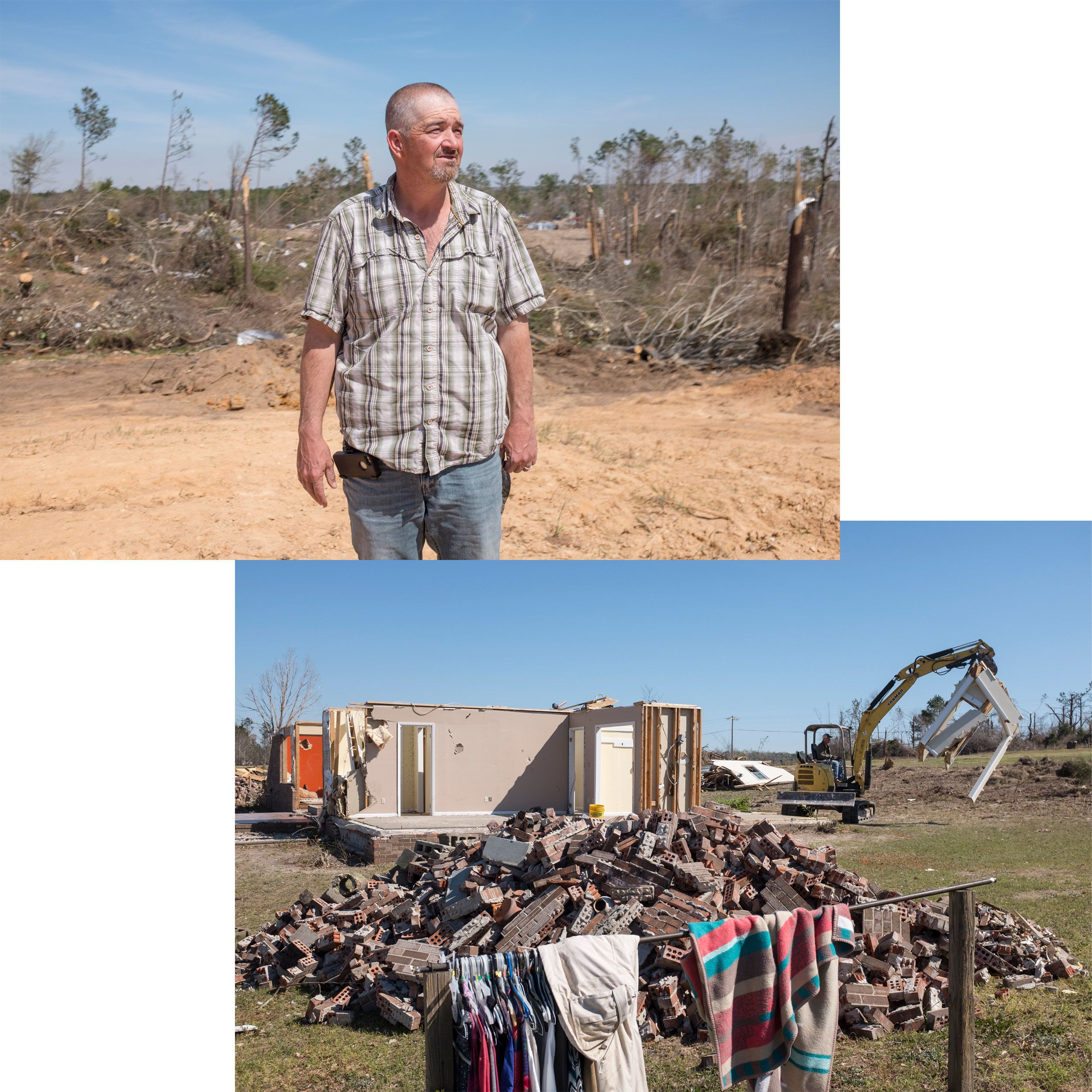 (Top) Joseph Vernon stands where his house once sat along Lee Road 38. (Bottom) The remnants of another home torn apart