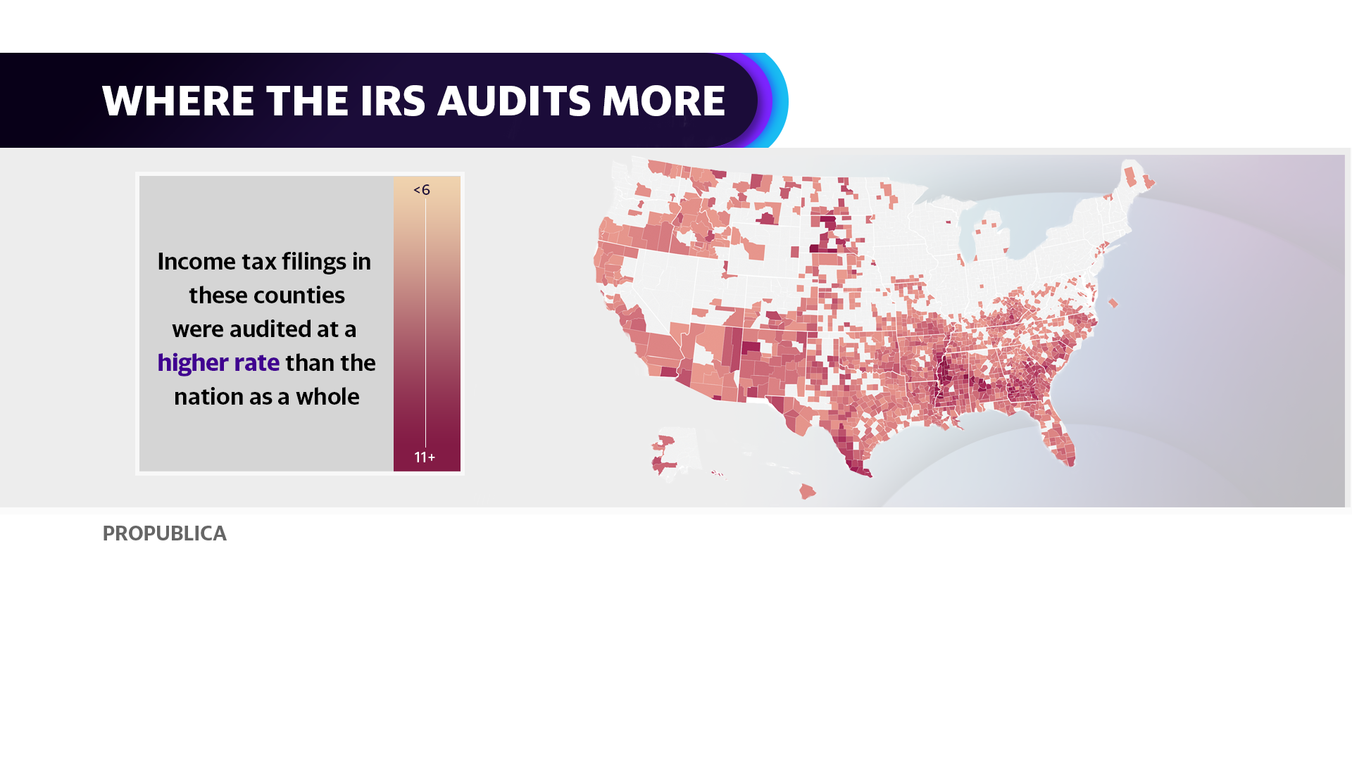 Income tax filings in these counties were audited at a higher rate than the nation as a whole.
