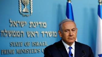 Israeli Prime Minister Benjamin Netanyahu gives a statement regarding the recovering of the body of a U.S.-born Israeli soldier, Zachary Baumel, who went missing in a tank battle against Syrian forces in Lebanon in 1982, during a news conference in Jerusalem, April 3, 2019. REUTERS/Ronen Zvulun