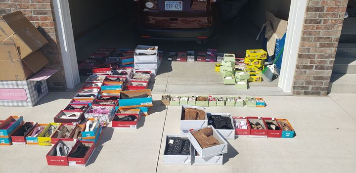 The haul of shoes sent to Nebraska flood victims.