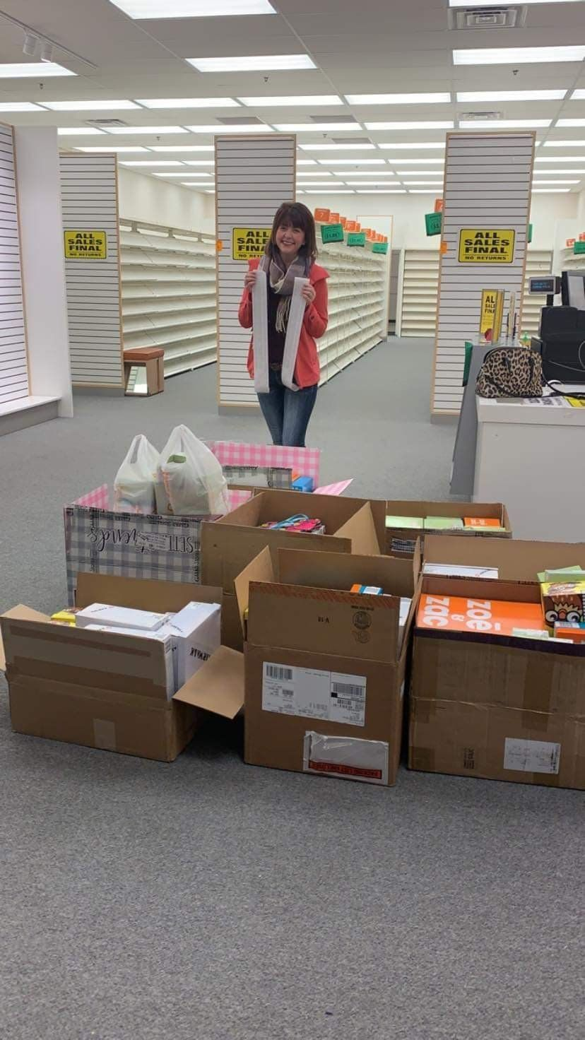 Addy Tritt purchased 204 pairs of shoes at Payless to donate to victims of the floods in Nebraska.