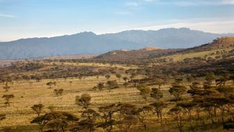 The Crater Area in Queen Elizabeth National Park with view of the Rwenzori (Ruwenzori) Mountains. Kasese. Uganda. East Africa. Africa. February. (Photo by: Martin Zwick/REDA&CO/UIG via Getty Images)