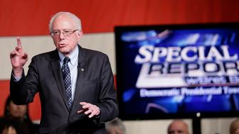 Democratic presidential candidate, Sen. Bernie Sanders, I-Vt,  speaks at the FOX News town hall at the Gem Theatre, Monday, March 7, 2016, in Detroit. (AP Photo/Carlos Osorio)