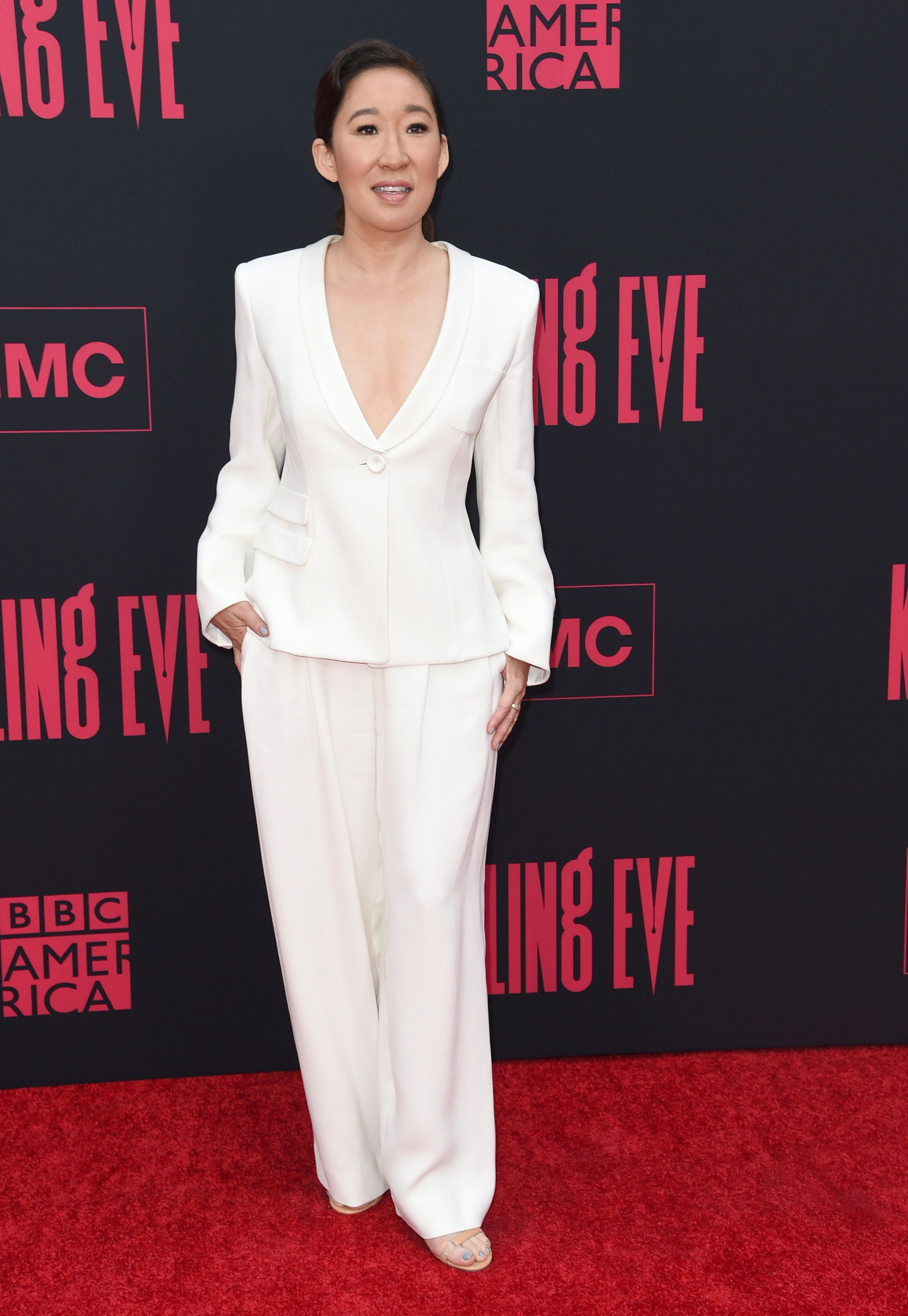 "Sandra Oh arrives at the season two premiere of ""Killing Eve"" on Monday, April 1, 2019, at ArcLight Hollywood in Los Angeles. (Photo by Richard Shotwell/Invision/AP)"