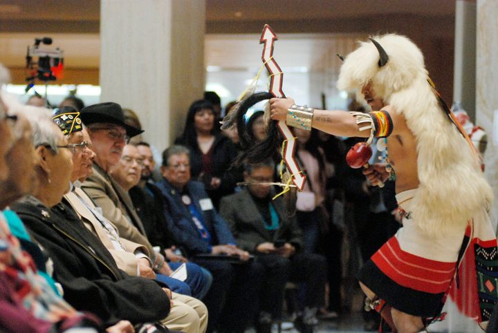 Raydean Johnson, of Zuni Pueblo, performs the buffalo dance at the New Mexico Statehouse on Feb. 1, a day dedicated to celebr