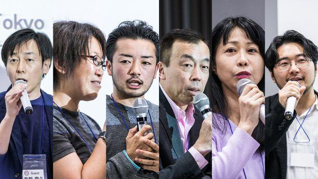 (左から)登壇した青野慶久さん、中島愛さん、杉山文野さん、鈴木賢さん、寺原真希子さん、野口敏彦さん