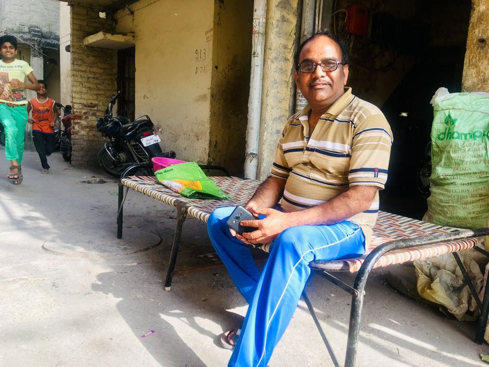 Yashpal Saxena, Ankit Saxena's father, in his locality in West