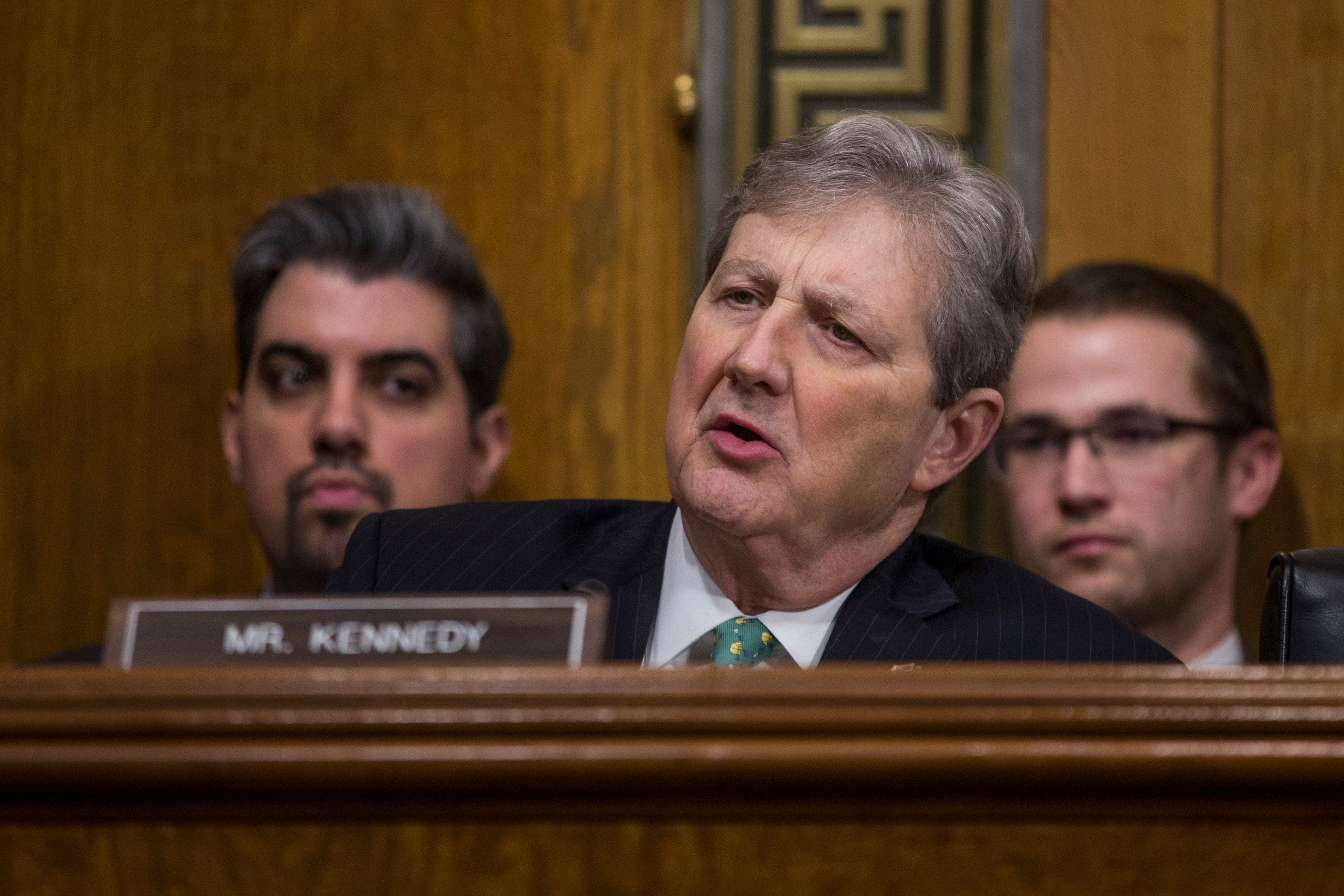 WASHINGTON, DC - FEBRUARY 05: Sen. John Kennedy (R-LA) speaks during a Senate Judiciary confirmation hearing for Neomi Rao, President Donald Trump's nominee to be U.S. circuit judge for the District of Columbia Circuit, on Capitol Hill on February 5, 2019 in Washington, DC. Rao would fill the seat left vacant by Brett Kavanaugh after Kavanaugh joined the Supreme Court. (Photo by Zach Gibson/Getty Images)