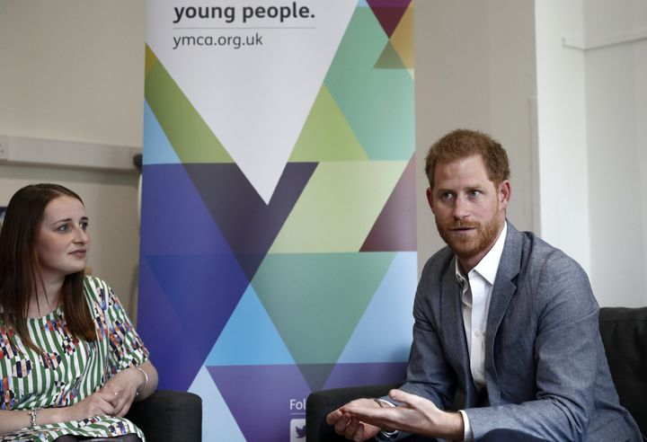 """Prince Harry at a youth mental health discussion on April 3 at a YMCA in London, where he declared that""""social me"""