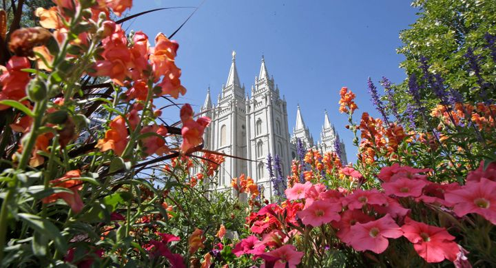 Flowers bloom in front of the Salt Lake Temple, at Temple Square, in Salt Lake City.