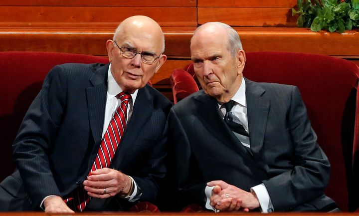 President Russell M. Nelson, right, and his first counselor, Dallin H. Oaks, left, speak during a conference of The Church of