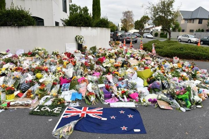 A makeshift memorial to the victims of the Christchurch attack.
