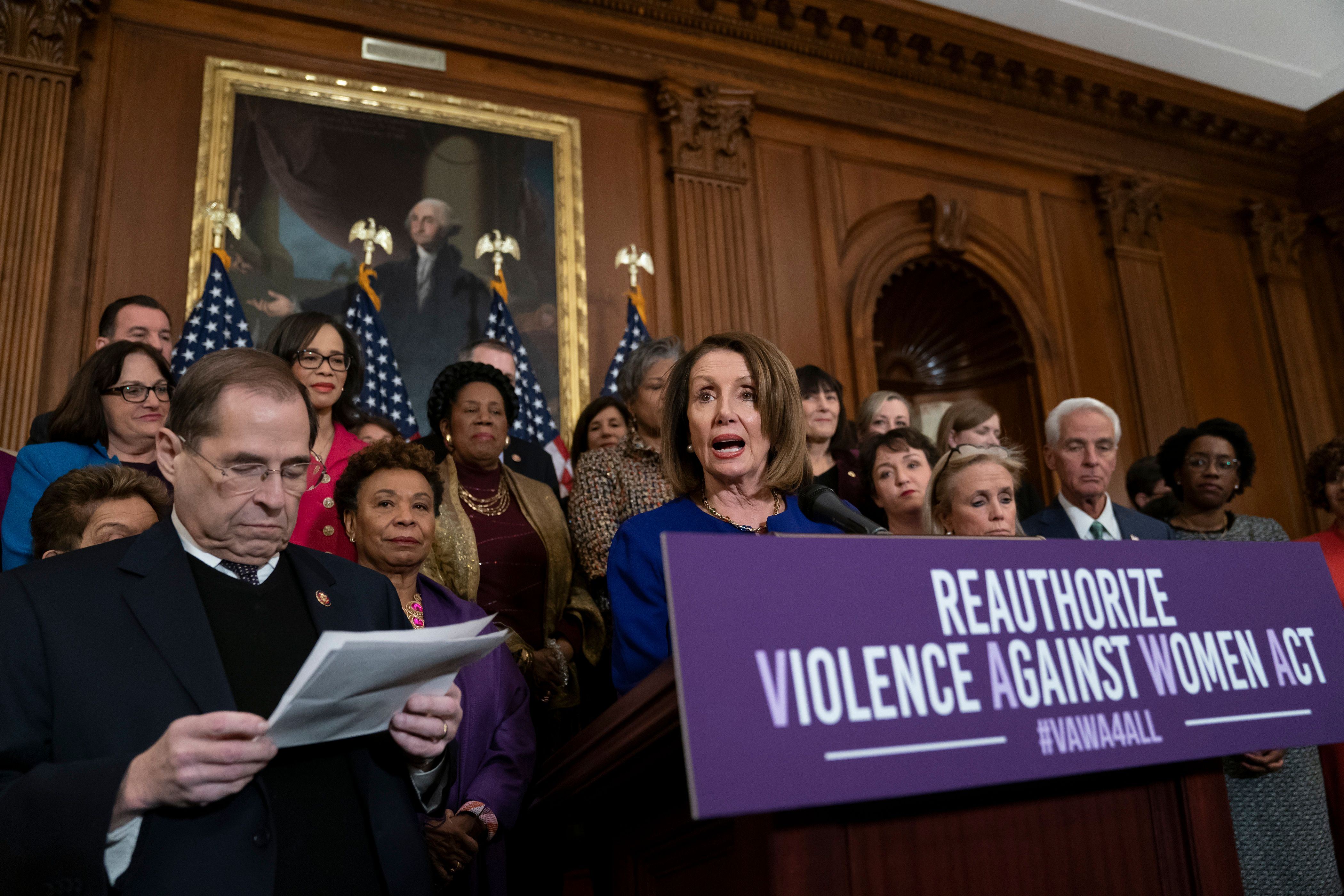 Speaker of the House Nancy Pelosi, D-Calif., joined at left by House Judiciary Committee Chairman Jerrold Nadler, D-N.Y., speaks about plans to reauthorize the Violence Against Women Act which provides funding and grants for a variety of programs that tackle domestic abuse, at the Capitol in Washington, Thursday, March 7, 2019. (AP Photo/J. Scott Applewhite)