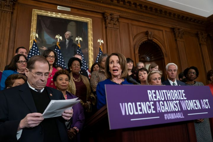 Speaker of the House Nancy Pelosi, D-Calif., joined at left by House Judiciary Committee Chairman Jerrold Nadler, D-N.Y., spe