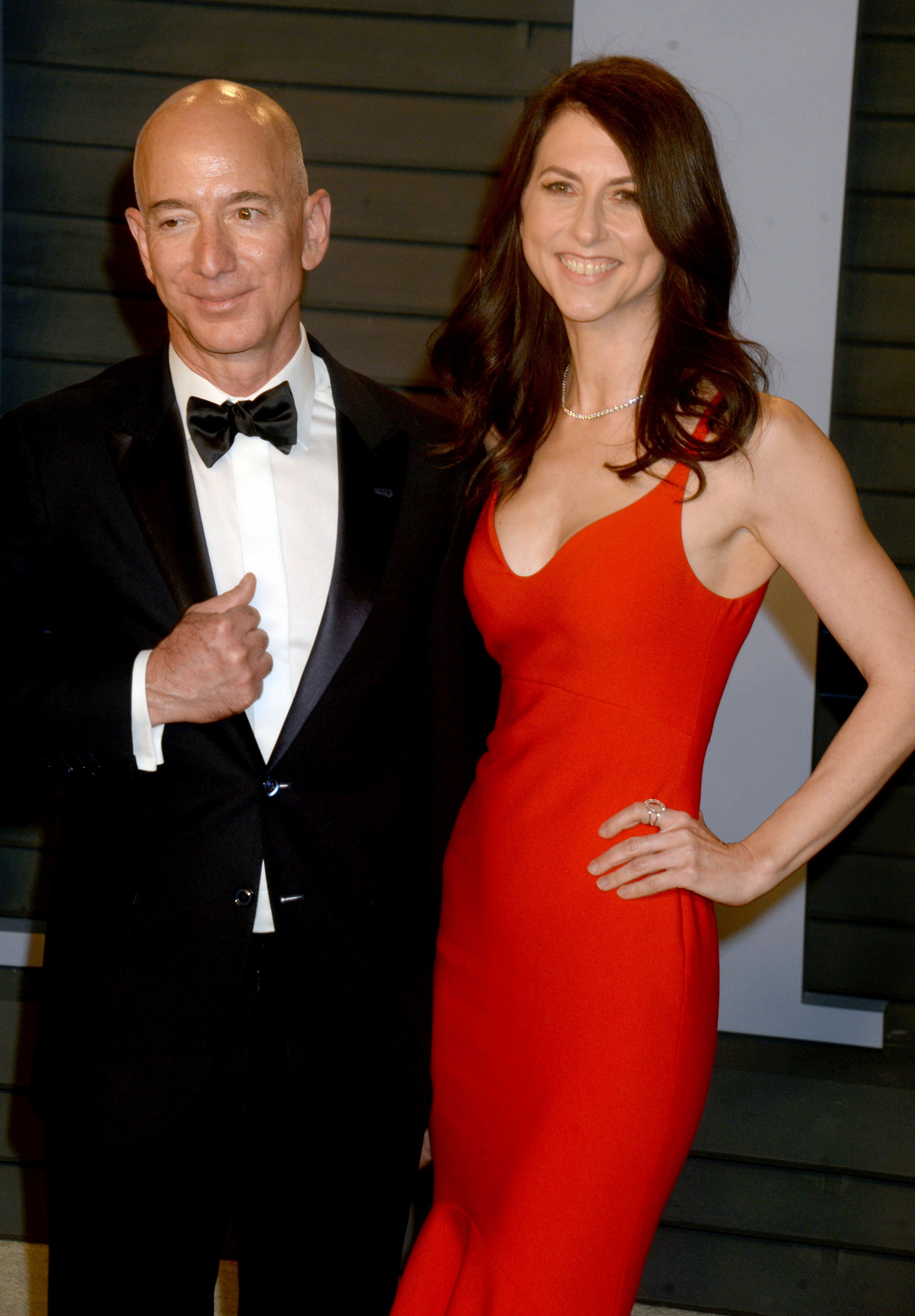 February 12, 2019 - The Jeff Bezos / National Enquirer American Media Publishing scandal involving alleged blackmail, extortion, racy texts and compromising photographs continues to escalate. - File Photo by: zz/Dennis Van Tine/STAR MAX/IPx 2018 3/4/18 Jeff Bezos and his wife MacKenzie Tuttle Bezos at The 2018 Vanity Fair Oscar Party in Beverly Hills, CA.