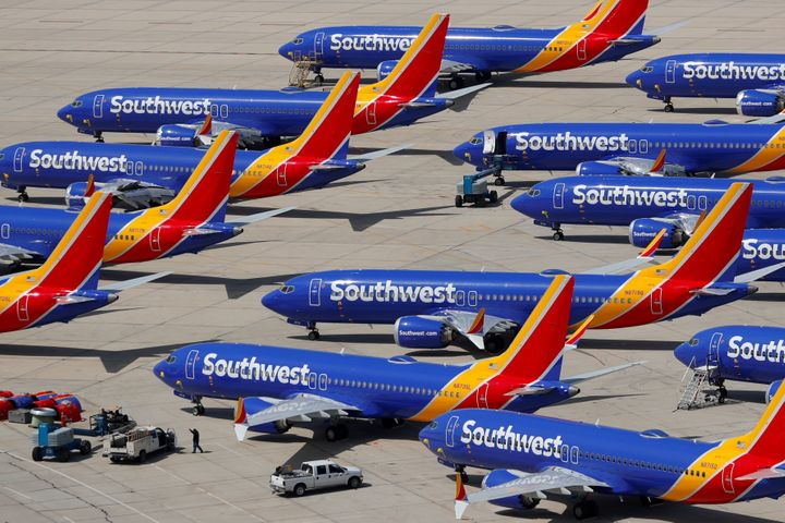 A number of grounded Southwest Airlines Boeing 737 Max 8 aircraft are shown parked at Victorville Airport in Victorville