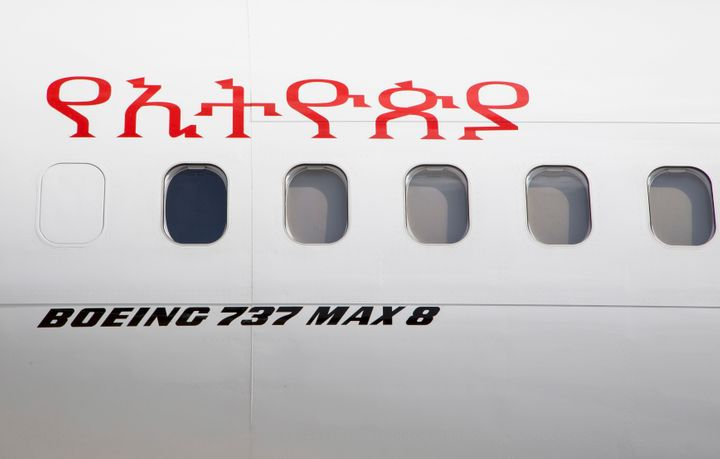 An Ethiopian Airlines Boeing 737 Max 8 sits grounded at Bole International Airport in Addis Ababa, Ethiopia, on March 23, 201