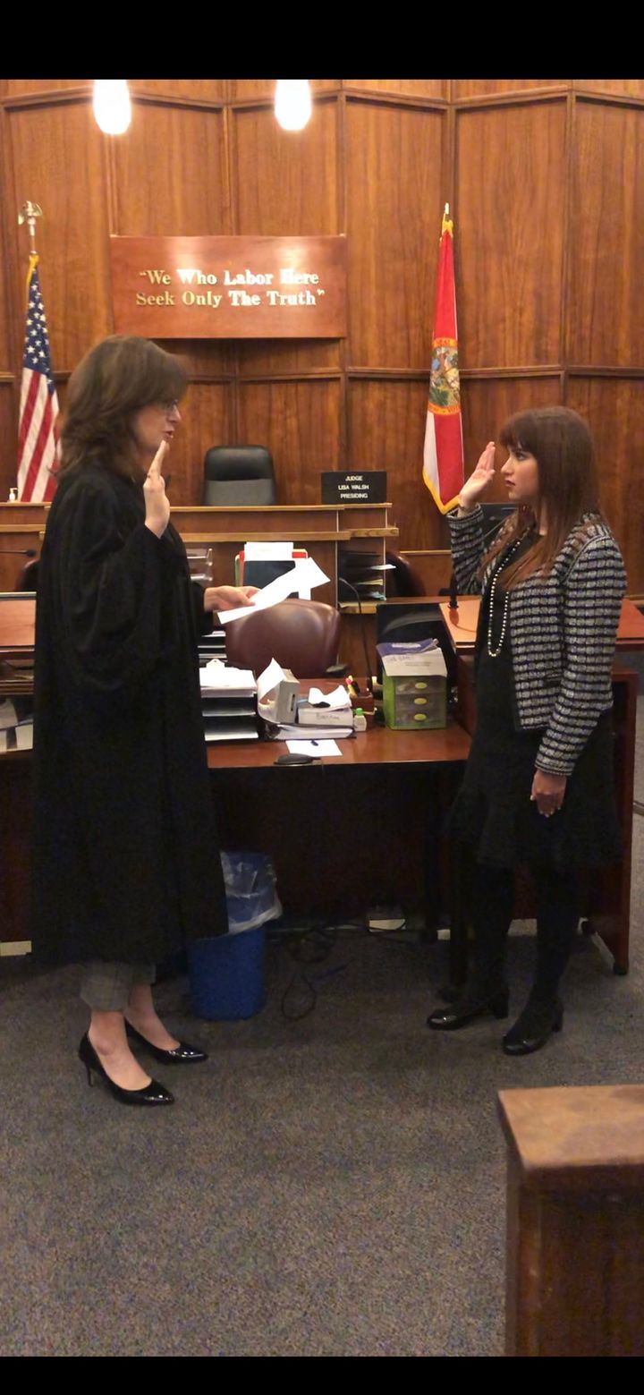 Getting sworn into the Florida Bar with Judge Lisa Walsh. By far one of the best and most meaningful days of my life.