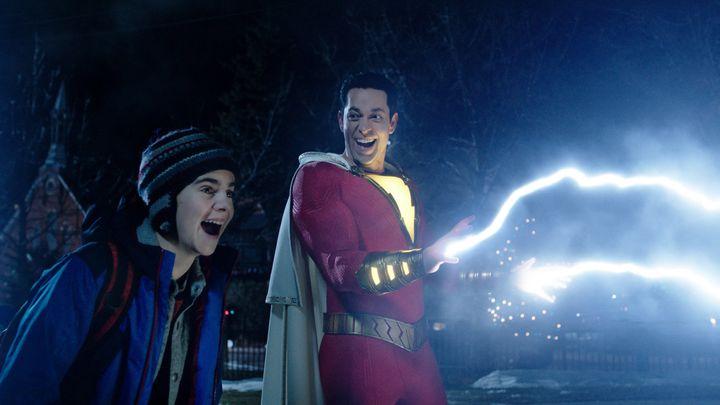 """Jack Dylan Grazer as Freddy Freeman and Zachary Levi as Shazam in """"Shazam!"""""""