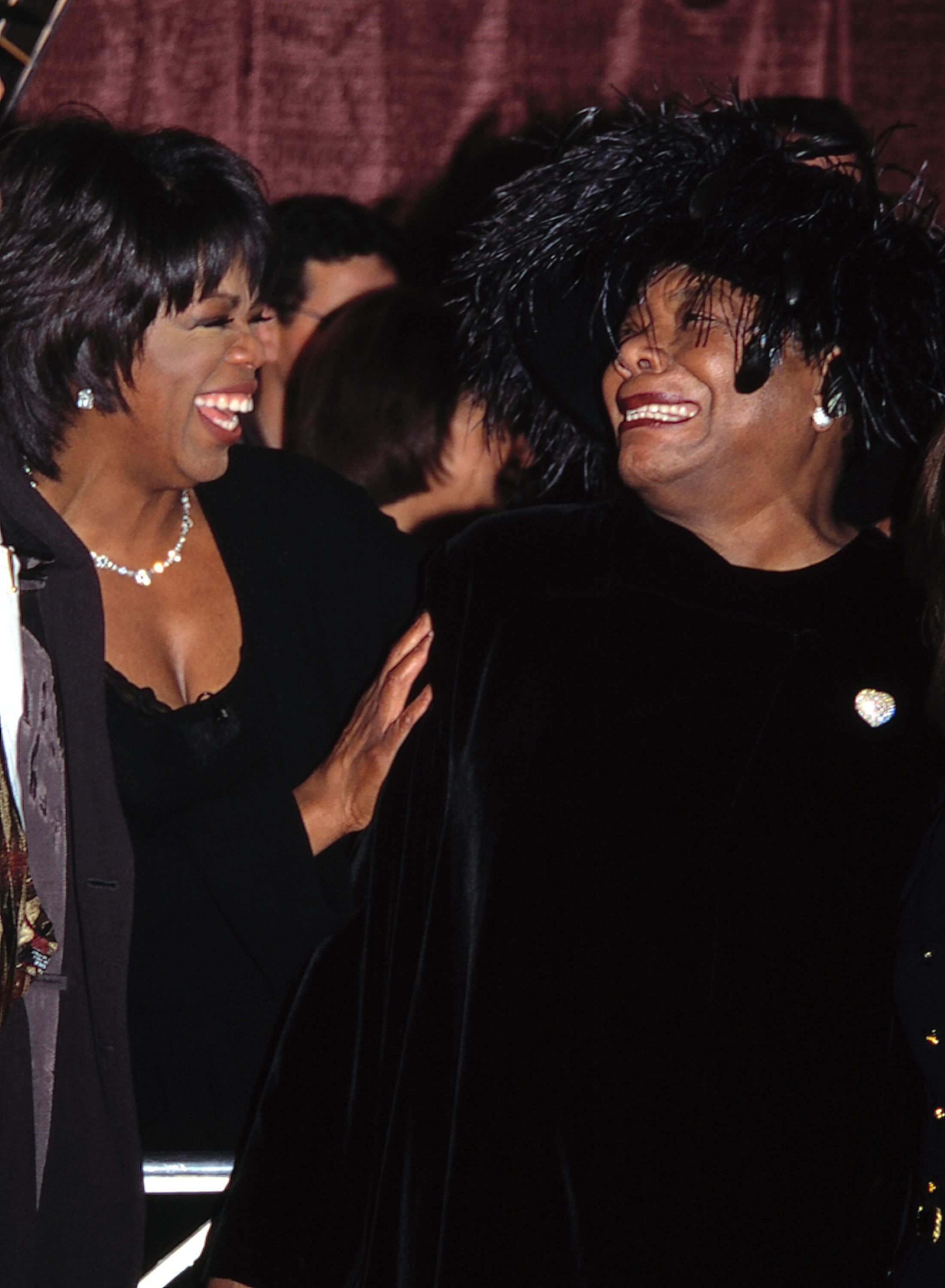 Oprah Winfrey and Maya Angelou Attending the Celebration of Quincy Jones' 50th Year in Music at Roseland, New York City. November 7, 1995 (Photo by Walter McBride/Corbis via Getty Images)
