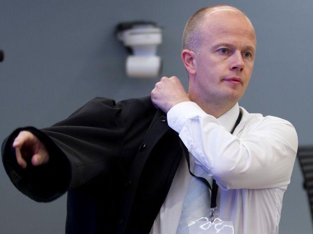 노르웨이 테러범에 대한 기소를 맡았던 스베인 홀덴 검사. 2012년