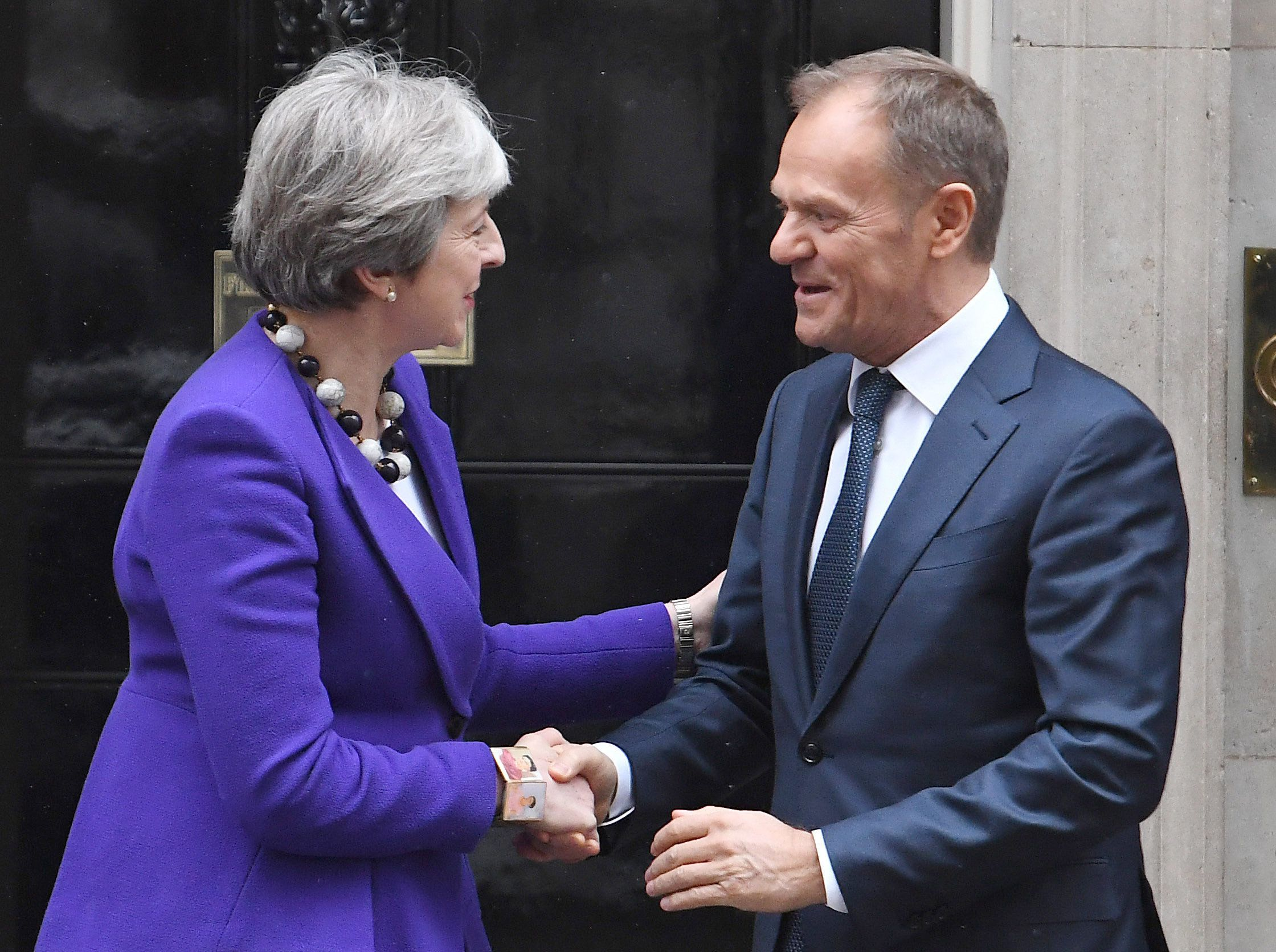 """File photo dated 01/03/18 of Prime Minister Theresa May and European Council president Donald Tusk at Downing Street, London. Theresa May is to write to Donald Tusk today with the UK's request for a further delay to Brexit, as the European Council president is proposing to offer the UK a 12-month """"flextension"""", a Downing Street source said."""