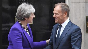 "File photo dated 01/03/18 of Prime Minister Theresa May and European Council president Donald Tusk at Downing Street, London. Theresa May is to write to Donald Tusk today with the UK's request for a further delay to Brexit, as the European Council president is proposing to offer the UK a 12-month ""flextension"", a Downing Street source said."
