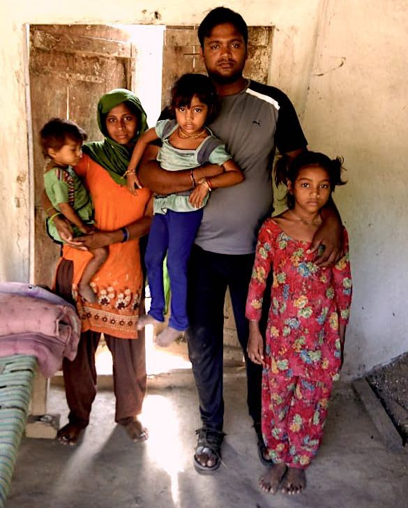 Jumia Mansoori with husband Sabir and their three daughters at home in Uttar