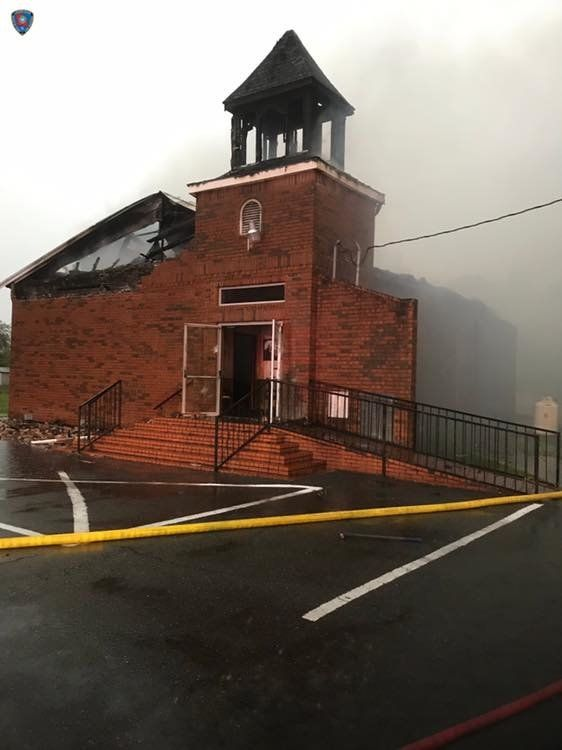 A photo from the Louisiana Office of State Fire Marshal shows the remains of a fire at Mount Pleasant Baptist Church in Opelo
