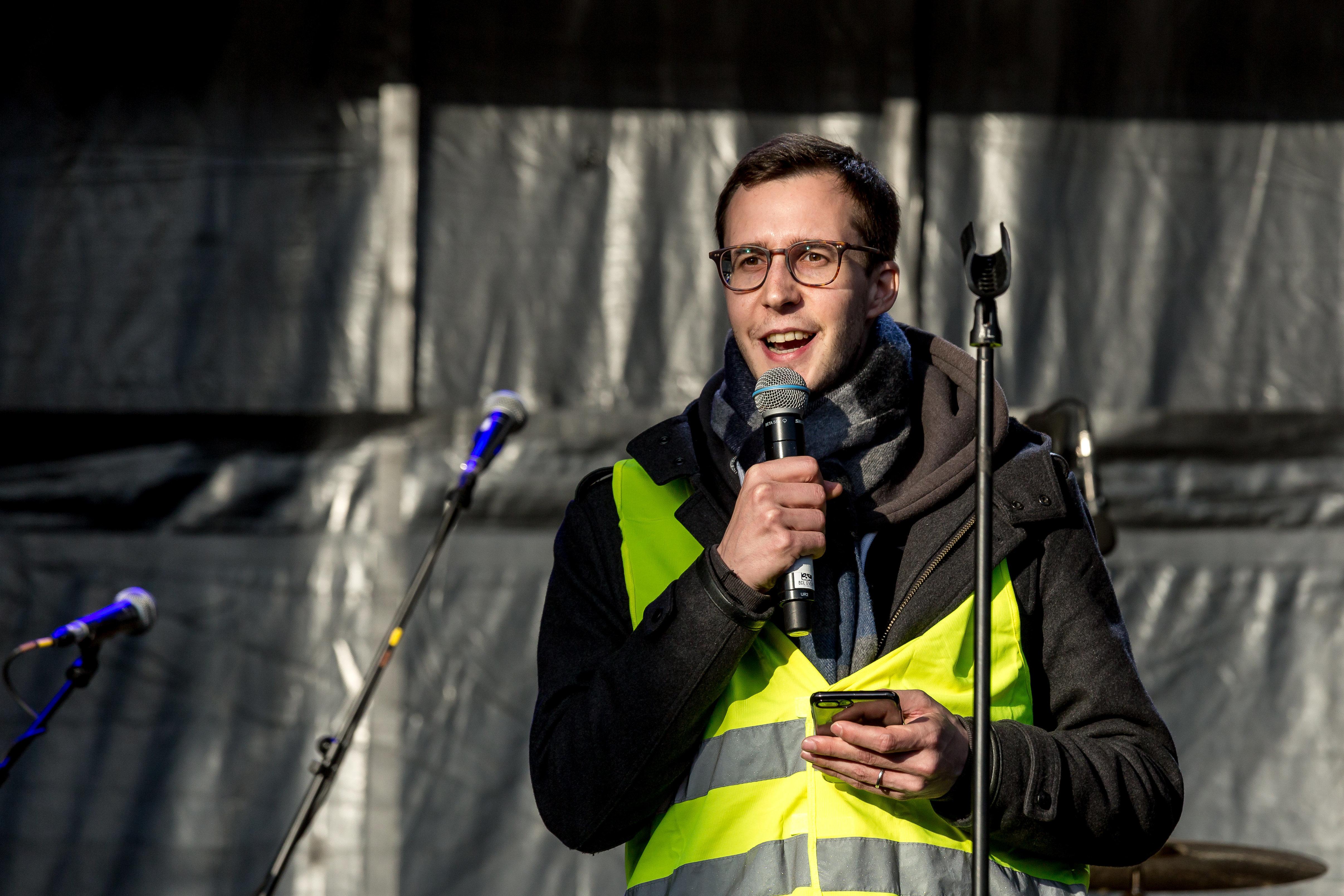 François Boulo, en una manifestaciónel 16 de marzo en