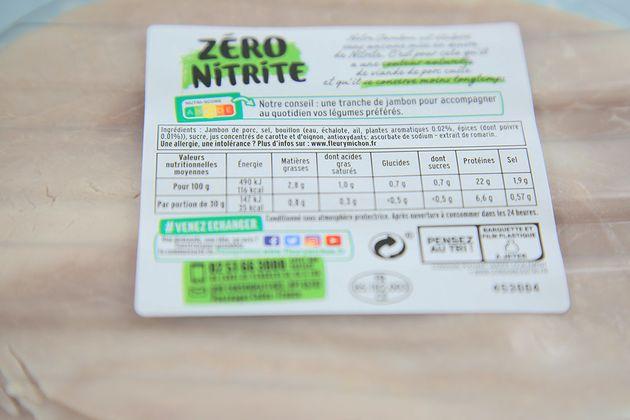 L'étiquette du jambon dit sans nitrite de Fleury