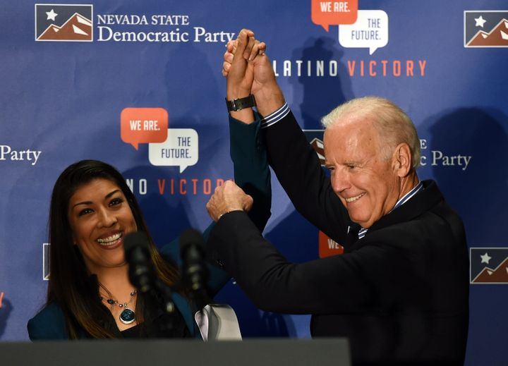 Democratic candidate for lieutenant governor and current Nevada Assemblywoman Lucy Flores (D) is seen introducing Biden at a