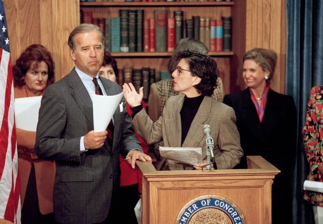 Sen. Barbara Boxer (D-Calif.), second from right, gestures toward Sen. Biden during a news conference...